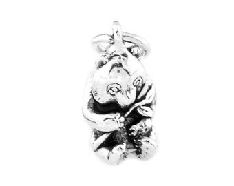 Sterling Silver Panda Bear Eating Bamboo Charm (3d Charm)