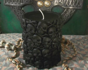 Black Skull Beeswax Pillar Candle