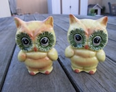 Cute Retro Vintage Owl Salt and Pepper Shaker Set (Lustware-Glass Ceramic)