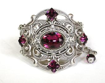 Amethyst Swarovski Bracelet - Silver Women Purple Bracelet - Vintage Style Victorian Gothic Jewelry