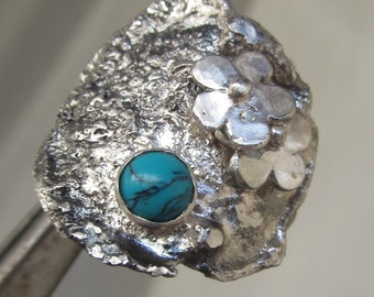 Boho Silver Ring with Turquoise - Unique designed ring - Ready to Ship Size 7 1/2 - Artistic jewelry - Made in Israel