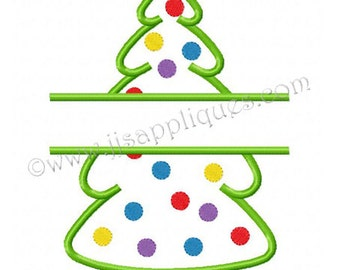 Instant Download  - Split Embroidery Design - Decorated Christmas Tree Embroidery Applique Design 5x7, and 6x10 hoop sizes