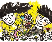Flower Lovers, (yellow) card