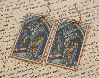 Tarot earrings tarot jewelry Three of Pentacles mixed media jewelry supernatural jewelry