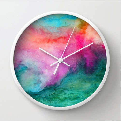 Watercolor Wall Clock Modern Home Decor Watercolor Design