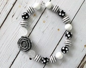 Gray Chunky Necklace, Black, White, and Gray Bubblegum Necklace, Black and White Baby Necklace, Toddler Necklace