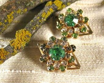 Vintage Pair of Spring Green Rhinestone Pins Brooches