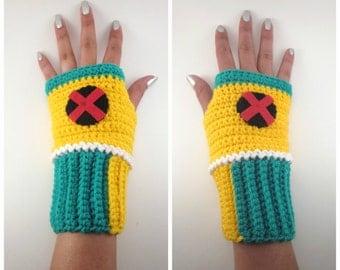 X Men Inspired Rogue Themed Geeky Gauntlets. Wristwarmers. Super Hero Series. Fingerless Gloves. Crochet Avengers Marvel Comics. Cosplay.
