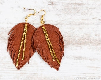 Brown leather feather earrings with golden chains. Long Earrings, Leather Jewelry, Bohemian, Wings, Feather, Rustic, Autumn jewelry