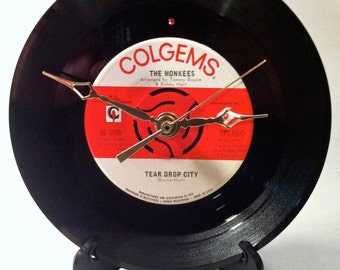 "Recycled MONKEES 7"" Record / Tear Drop City / Record Clock"
