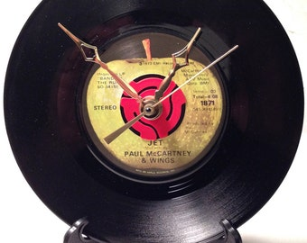 "Recycled PAUL McCARTNEY & WINGS 7"" Record / Jet / Record Clock"