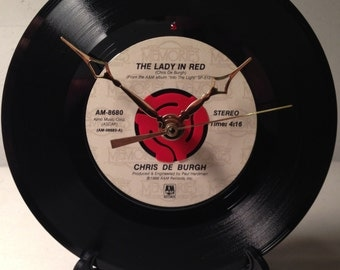 """Recycled CHRIS De BURGH 7"""" Record / The Lady In Red / Record Clock"""