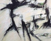Good/Bad news, 3-27-14  (abstract painting, black, pastel, white, ivory, cream, gray)