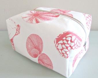Coral Seashell Makeup Bag - Nautical Makeup Bag - Cosmetic Bag - Large Makeup Bag - Waterproof Makeup Bag