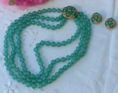 Necklace and Earrings - Glass Beads - 3 Strand - Vintage
