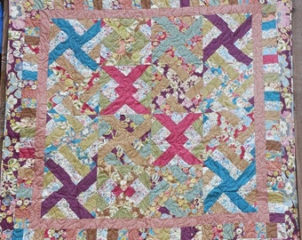 48 x 60 Inch Brown, Teal and Rose Floral and Dots Lap Quilt
