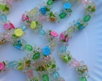 Vintage Plastic Pastel Fruit Salad Floral Flower Necklace West Germany