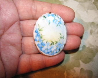 Vintage Hand Painted Antique Cameo Blue Flower Porcelain Brooch C Clasp
