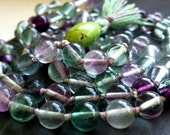 Rainbow Fluorite Knotted Mala Beads - Yoga Prayer Beads - Mantra Meditation Stones