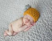 Newborn Girls Mustard Wtih Gray Rose Wool Beanie Hat Photo Prop