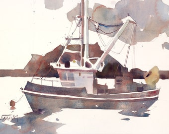 A Boat in the Middle | Original Watercolor Painting 15 x 22 inches