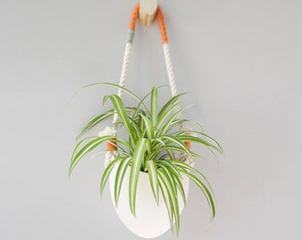 Orange and grey yarn cotton rope planter
