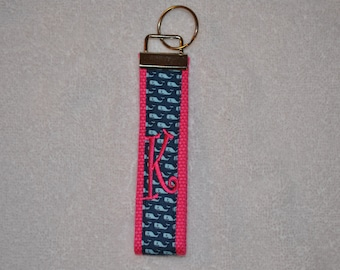Whales Monogrammed KeyFob Keychain Wristlet Hot Pink with Navy and Light Blue Whales