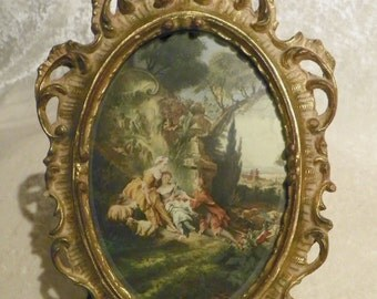 Beautiful Florentine Ornate Hanging Picture Frame with Old Italian Print