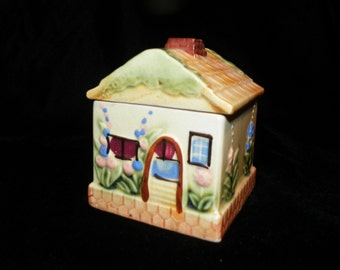 Sugar Bowl Sugar Pot Sugar Keeper Cottage Hand Painted Made in Japan - Occupied Japan