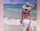 """Original Painting""""Walk with the waves"""", beach painting"""