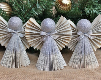 Angel Ornament, Silver Ornament, Christmas Ornament, Book Angel Ornaments, Set of 3 in Silver, MADE TO ORDER