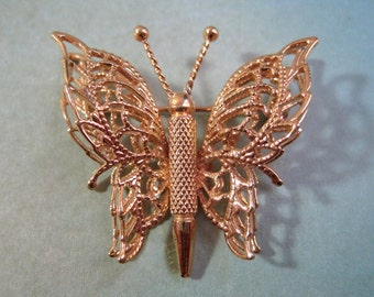 Monet Butterfly Brooch Gold Tone Filigree Wings and Nice Brushwork and Detail to the Body Insect Pin