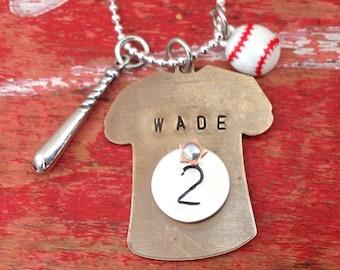 Baseball Mom Personalized Necklace.  My heart belongs to.  Custom baseball jewelry