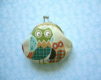 SALE Owls Coin Purse - Handmade Gift, Birthday Gift, Holiday Gift - Stocking Stuffer - Gifts Under 15