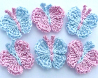 Crochet appliques, 6 small blue & pink applique butterflies, cardmaking, scrapbooking, appliques, craft embellishments, sewing accessories.
