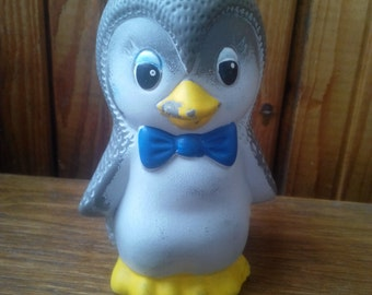 Old vintage soviet rubber toy penguin. Made in the USSR in about 1980
