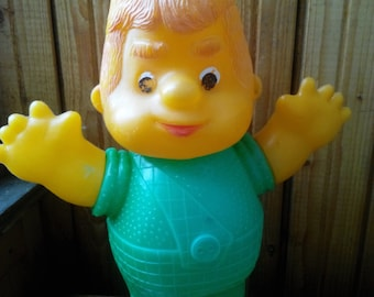 Vintage soviet big plastic toy  Carlson a character of children Lingrendt fairy tale cartoon. Made in the USSR.