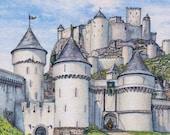Fairytale castle print, decor, wall art, 5 x 5 inches