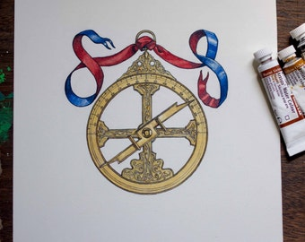 Astrolabe - original art, unique gift for any board game fan or nautical enthusiast originally published on the Entdecker board game box.