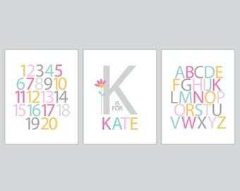 Nursery wall art, Personalized Name, Alphabet, Numbers - Three 8x10 Prints