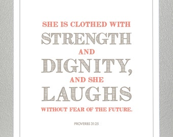 Proverbs 31:25 - Orange & Wheat - Print