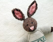 Knitted Rabbit - Knitted Toy - Stuffed Animal Knitted Bunny - Hand Knit Toy - Kids Easter Bunny - Waldorf Toy - Hand Knitted Animal, STEPHEN