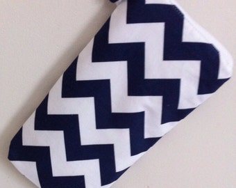 Insulated Baby Bottle Bag in Navy Blue Chevron