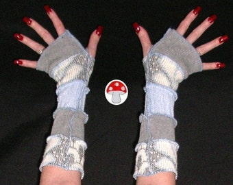 "Arm Warmers DEPOSIT Special Order ""Blue Moon"" Pixie Wrist Warmies Fingerless Sweater Gloves Armwarmers Gray Lunar Satelite Baby Blue Mittens"
