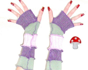 DEPOSIT Special Order Arm Warmers Living Lavender Fingerless Gloves Purple Green One Size Recycled Upcycled Sweater Warmies Fitted Style