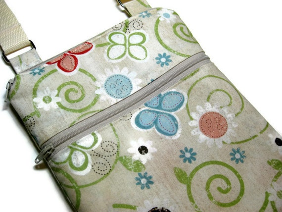 Neutral butterflies cross body sling purse adjustable shoulder travel vacation shopping wallet small bag