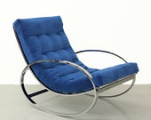 Mid Century Italian Chrome Rocking Chair by Renato Zevi for Selig -  Milo Baughman