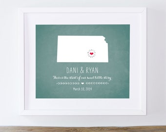 Personalized Wedding Wall Decor - Personalized Wedding Art - Kansas or Your Choice of State