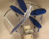 Cobalt Blue Dragonfly Stained Glass Nightlight - Item 5-1024