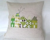 "Cushion cover, green houses in a row, European, free motion applique, 16"" / 40cm."